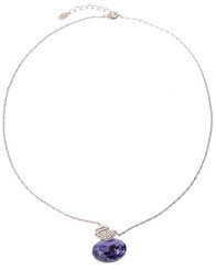 Silver Plated Purple Crystal Swan Necklace