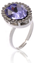 Adjustable Silver Plated Purple Crystal Vintage Ring