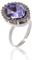 Adjustable Silver Plated Purple Crystal Vintage Ring