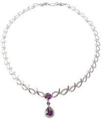 Silver Plated Purple Crystal Vintage Necklace