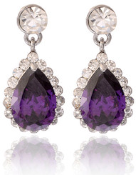 Violet Purple Swarovski Elements Teardrop Earrings