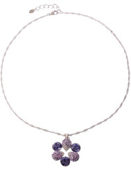 Silver Plated Purple Crystal Flower Necklace