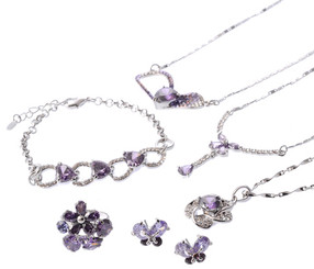 Neoglory Gardenia Purple Czech Crystal White Gold Plated Butterfly Jewellery Set Tv11_Full Set-6Pieces