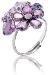 Silver & Purple Crystal Cluster Adjustable Ring