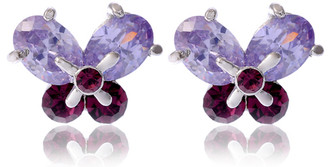 Silver Plated Two Tone Purple Crystal Butterfly Earrings