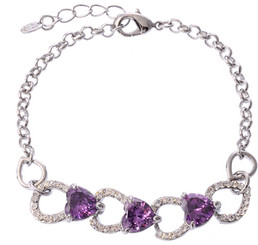 Silver Plated Purple Crystal Heart Braclet