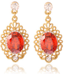 Neoglory Viola Czech Crystal Gold Plated Ruby Red Jewellery Set Xmas Prom Tv19_Earrings