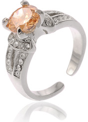 Silver Plated Orange Crystal Ring