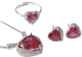 Neoglory Scarlet Red Ruby Hear Jewellery Set Christmas/Gift/ Bridal Tv03R