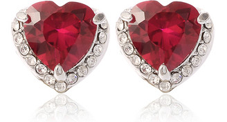 Silver Plated Red Crystal Heart Stud Earrings