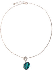 Neoglory Eliza Chunky Peacock Blue Jewellery Set Christmas /Gift/ Bridal Tv04_Leaf Round Pendant