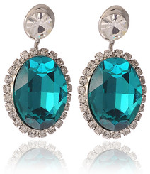 Silver Plated Turquoise Crystal Vintage Earrings