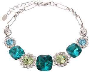 Silver Plated Turquoise & Green Crystal Flower Bracelet