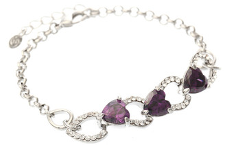Neoglory Purple Swarovski Elements Crystal White Gold Plated Bracelet Christmas Gift Tv23
