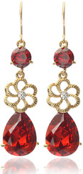 Neoglory Gold Plated Asian Inspired Bollywood Ruby Red Swarovski Elements Dangle Drop Earrings Tv30