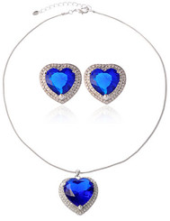 Blue Sapphire Heart Of The Ocean Necklace & Earrings Set
