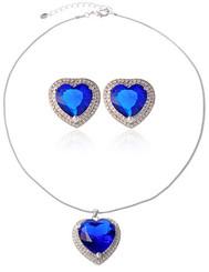 Blue Sapphire Heart Of The Ocean Necklace & Earrings Set