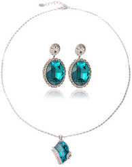 Silver Plated Turquoise Crystal Wrap Necklace & Earrings Set