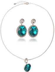 Silver Plated Turquoise Crystal Leaf Necklace & Earrings Set
