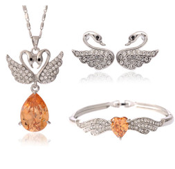 Neoglory Grace Amber Clear Czech Crystal White Gold Plated Jewellery Set Wedding Christmas Tv13_Swan Pendant Set-Pendant+Earrings+Bangle