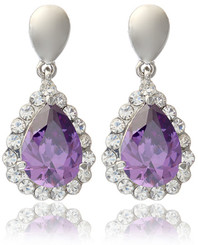 Silver Plated Purple Teardrop Crystal Earrings
