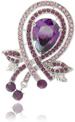 Silver Plated Purple Teardrop Crystal Brooch