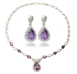 Silver Plated Purple Teardrop Crystal Earrings & Necklace Set