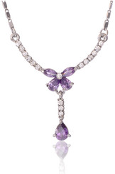 Neoglory Gardenia Purple Czech Crystal White Gold Plated Butterfly Jewellery Set Tv11_Butterfly Necklae