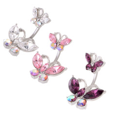 Double Crystal Butterfly Belly Bar