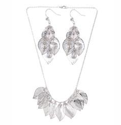 Silver Plated Leaf Skeleton Necklace & Earrings Set