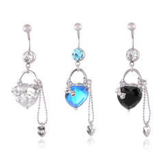 Dangling Heart & Chain Belly Bar