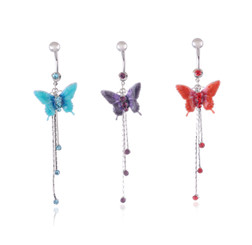 Crystal Droplet Butterfly Belly Bar