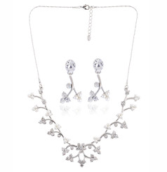 Neoglory Crystal Pearl Vine Necklace Wedding Jewellery Collection Ideal Christmas Gift S37