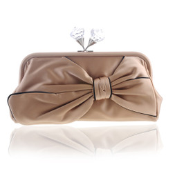 Gold Satin Evening Bag With Large Bow