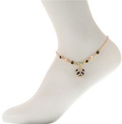 Neoglory Cute Clear/Black Crystal Panda Anklet Gold/Silver Plated Ank16