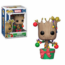 Marvel Holiday #399: Groot with Christmas Lights & Ornaments + Pop Protector