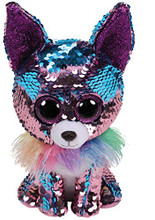 Ty Beanie Babies 36438 Flippables Medium Yappy The Blue Chihuahua Dog Sequin