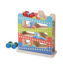 Melissa & Doug 40130 Roll and Ring Ramp First Play Tower with 2 Wooden Cars Play