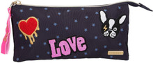 TOPModel Soft Pencil Case Navy DOG with Compartments