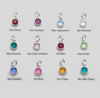 Silver Plated Birthstone Channel Charms - Small
