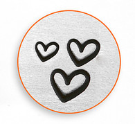 IMPRESSART - 3 Hearts Metal Stamp - 1.5/2/3mm