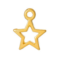 Gold Plated Hollow Star Charm 13x10mm