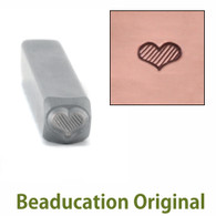 Beaducation Fat Lined Heart Design Stamp 4.5x3.5mm