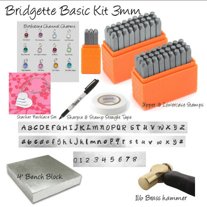 "Metal Stamping Kit, Bridgette basic Uppercase, Lowercase, Numbers, With 1lb Hammer, large 4"" steel bench block. Stamp straight tape, Sharpie, birthstone crystals and Blanks. All the kit you need to get started in Metal stamping."