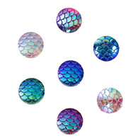 Resin Mermaid Scale AB Cabochon 10pk
