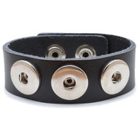 Little Chunks Interchangeable Real Leather Black Triple Chunk Bracelet
