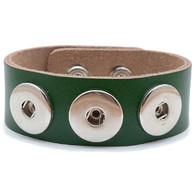 Little Chunks Interchangeable Real Leather Green Triple Chunk Bracelet