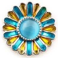 Little Chunks Blue and Yellow Enamel Flower Chunk