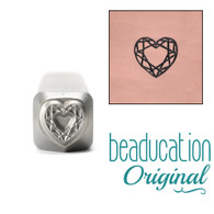 Beaducation Faceted Heart Design Stamp 6x5mm