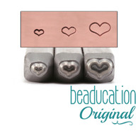 Beaducation Fat Heart Trio Design Stamps 2mm/3mm/4.5mm